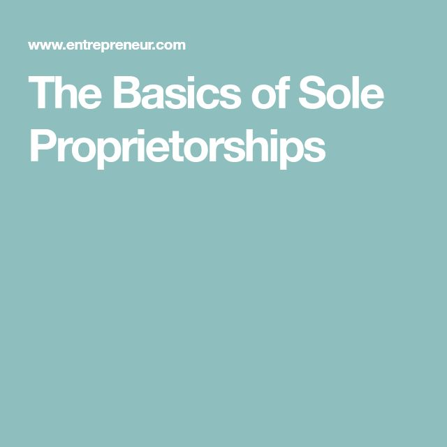 The Basics of Sole Proprietorships