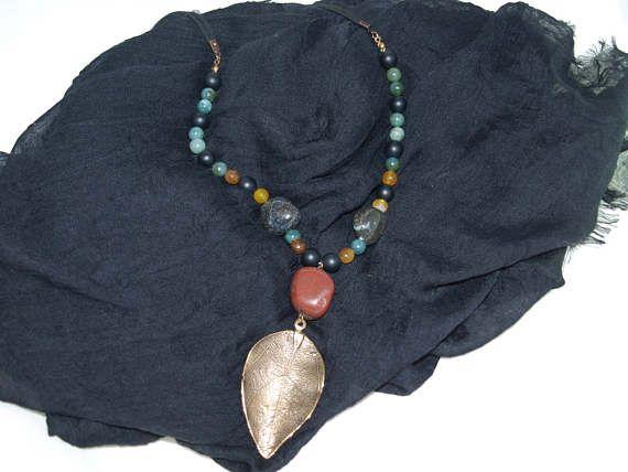 Agate Onyx Stone Pendant Leaf Necklace Design Necklace