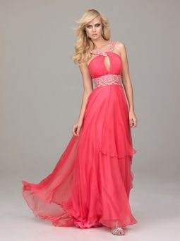 A-line Halter Floor-length Chiffon Best-Selling Dress with Beading