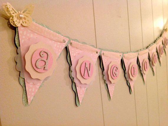 Girl Baby Shower Banner, Butterfly Baby Shower, Birthday Banner, Girl Name Banner, Custom Banner - Made to Order