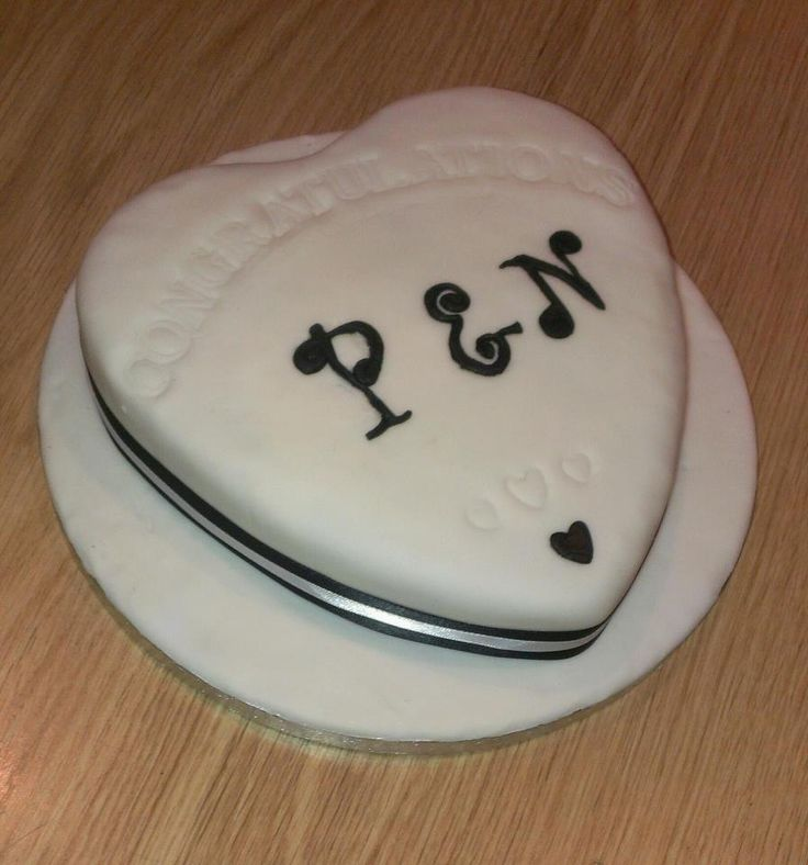 Engagement heart cake