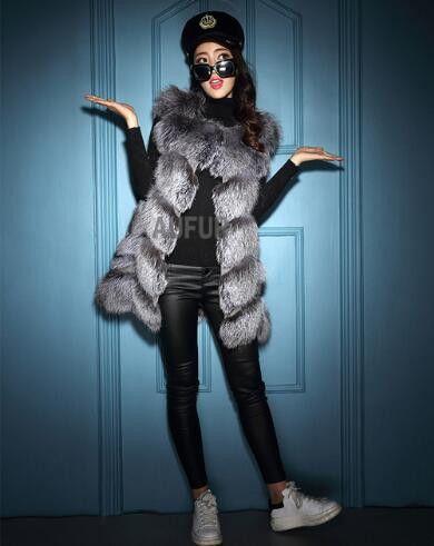 Real Fox Fur Vest Women Gilets Classic Sleeveless Warm Outwear Winter Fluffy Fox Fur Waistcoat Solid Express Shipping AU00768