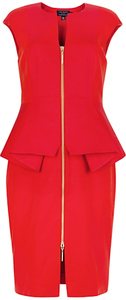 Ted Baker Jamthun Structured Zip Dress Red - Lyst