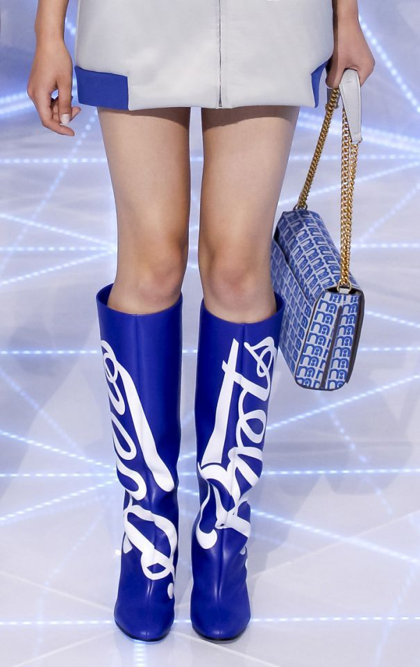 Anya Hindmarch retro blue and white boots.