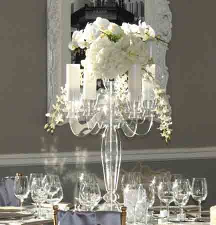 Acrylic candelabra centerpiece