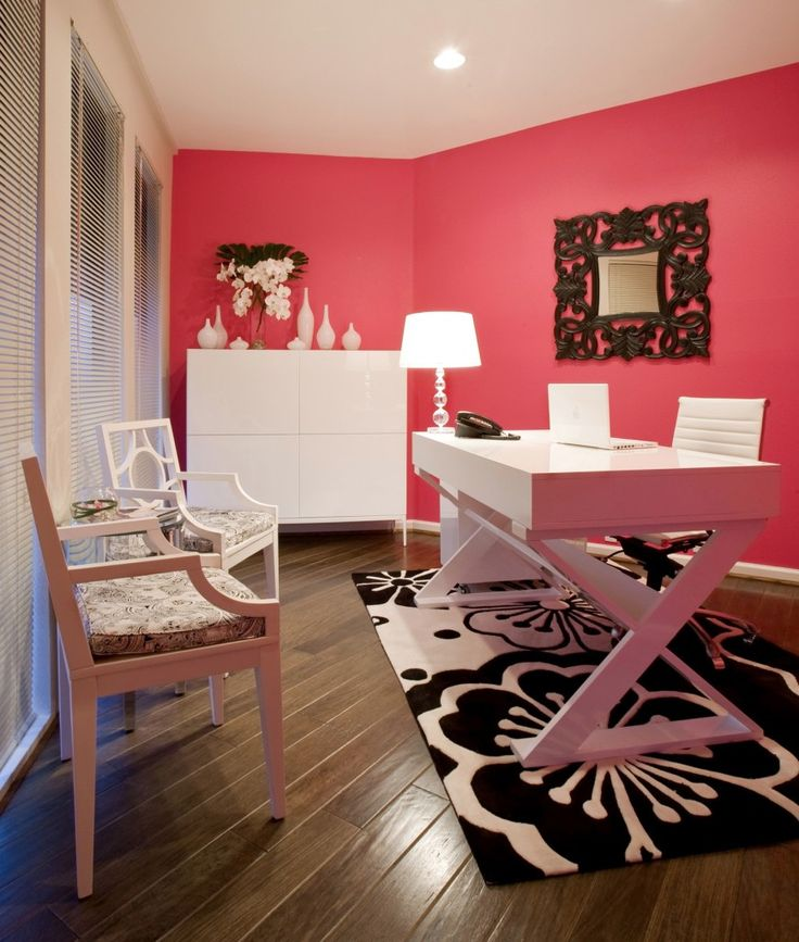 High Low Workspaceu2014 Get The Look Of This Bright Pink, Chic Office For