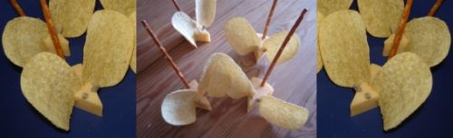 muisjes van kaas van te voren klaar maken? Testen! Chipsoren kunnen zacht worden.  Benodigdheden:      kaas     zoute stengels     chips     zonnebloempitten     mesje  Zo maak je de hartige muizen:      Snij de kaas in driehoekjes      Zet de chipsoren voorzichtig aan de voorkant van de driehoek aan beide kanten      Prik de zoute stengel (staart) rechtop achterin de kaas      Prik de zonnebloempitjes (oogjes) voorin in de kaas