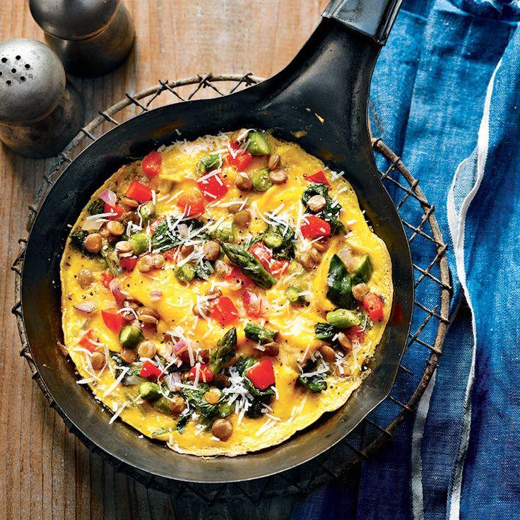 Omelette aux légumes et aux lentilles / Un déjeuner protéiné et ultra léger.