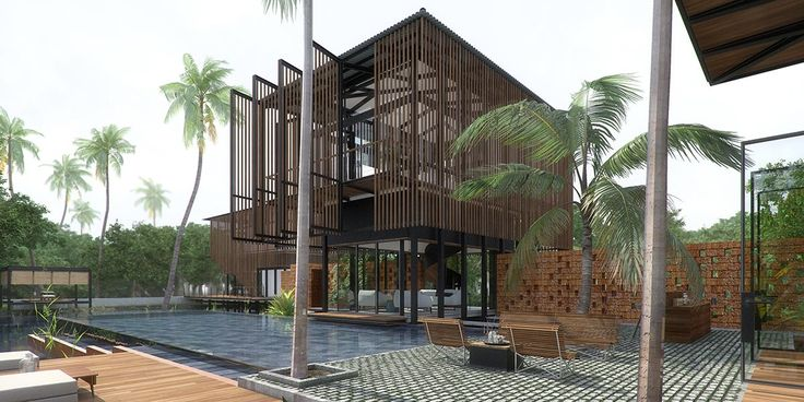 The Living Room and the Dining Room overlook the swimming pool which seemingly floats in the natural pond Waikiki Wetland Resort, Vengurla - Architecture BRIO, India     #stilted #pavilions #wetland #resort #infinitypool