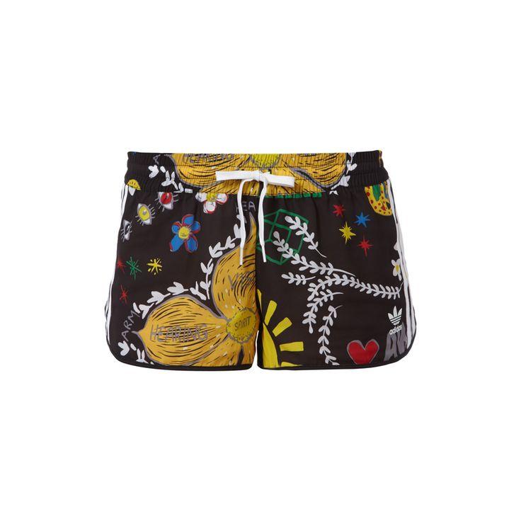 #adidas #Originals #Shorts mit #Allover-Muster für #Damen - Damen Shorts von Adidas Originals, Leichtes Material, Leichte Transparenz, Elastischer Bund mit Tunnelzug, Allover-Muster, Logo-Streifen
