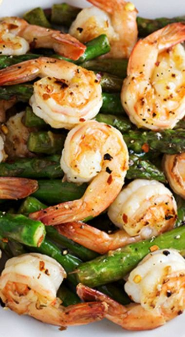 Shrimp and Asparagus Stir Fry with Lemon Sauce