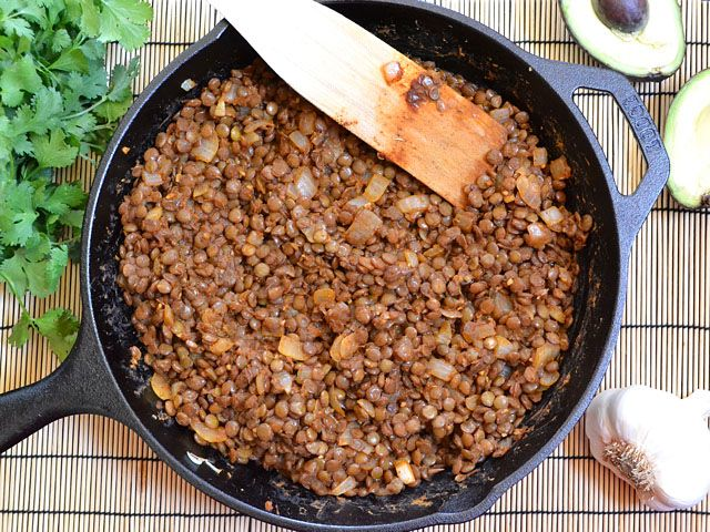 taco seasoned lentils. Miriam - I prefer this over taco meat on tortilla chips. So yummy!!