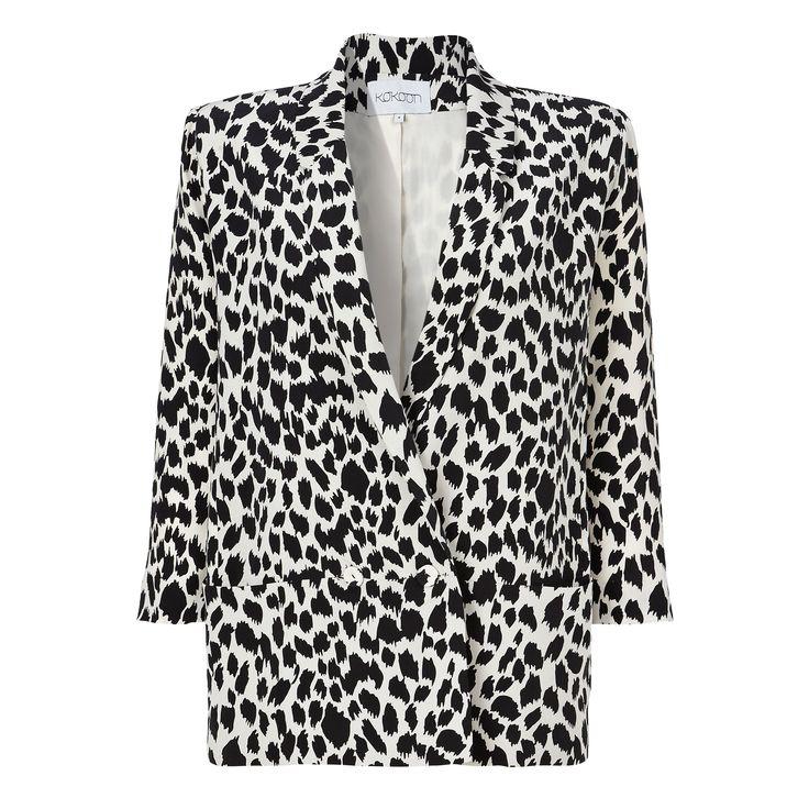 Ossie blazer - b/w leopard print