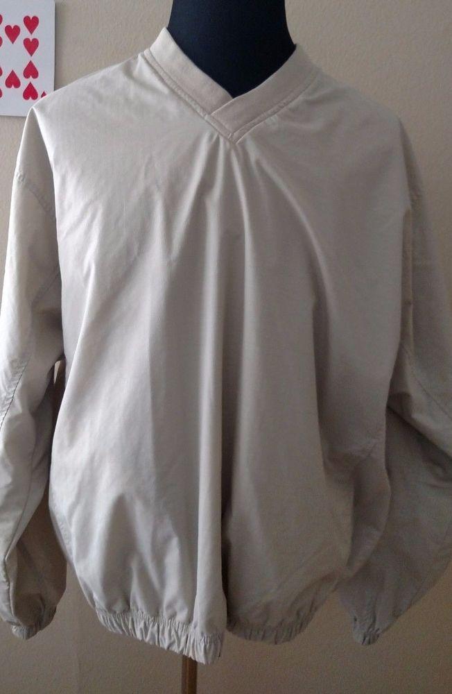 Reebok Mens Golf Jacket XL Nylon Tan Pullover Nylon Lining Windbreaker EUC #Reebok #Windbreaker