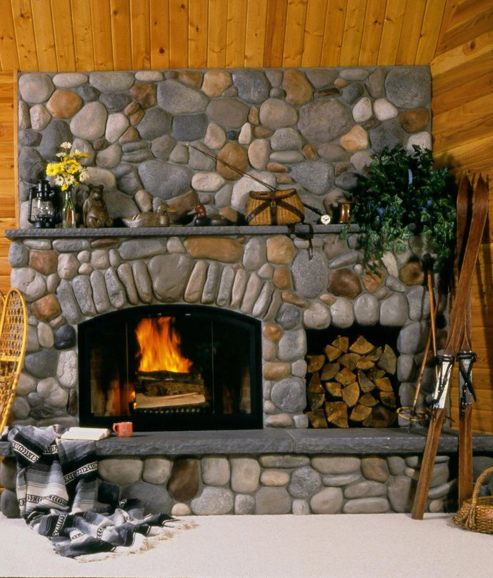 River Rock always makes a pretty fireplace! 25 Stone Fireplace Ideas for a Cozy, Nature Inspired Home   DesignRulz.com
