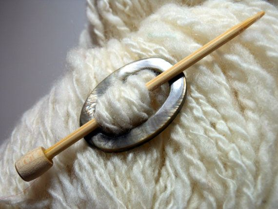 Mother of Pearl Oval Shawl Pin Tarn for by SeattleSkyDyeworks