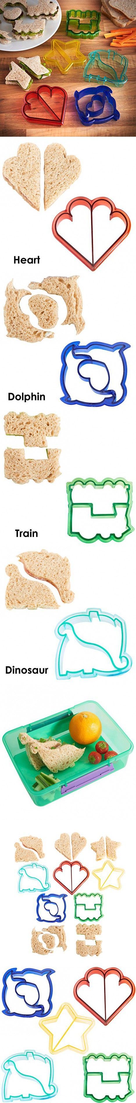 VonShef Fun Cake, Cookie & Sandwich Cutter Shapes for Kids - Set of 5 Shapes: Dinosaur, Dolphin, Heart, Star & Train