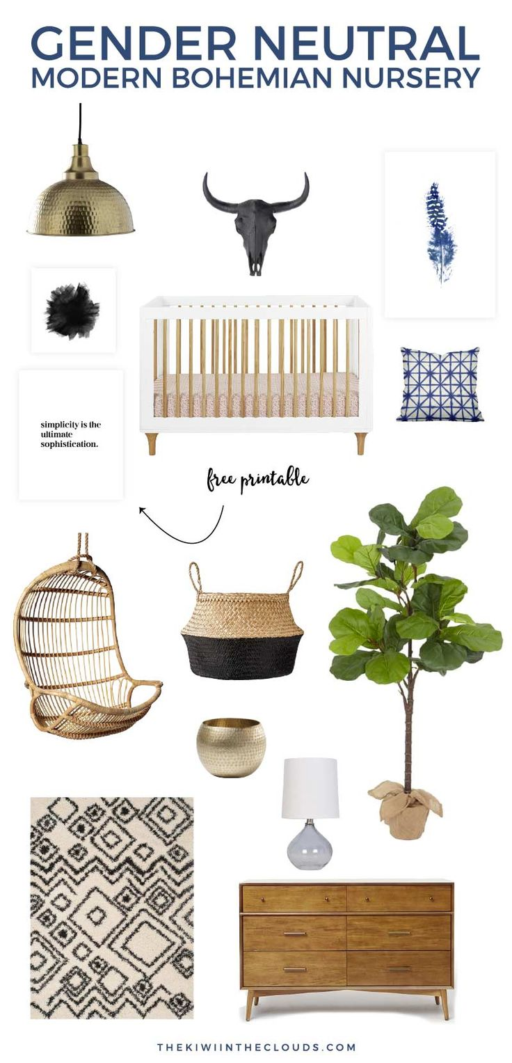 Get that contemporary yet relaxed and calming vibe with this modern bohemian baby room in gender neutral colors. This nursery is sophisticated and chic and will help you create that whole home decor you want with ease.