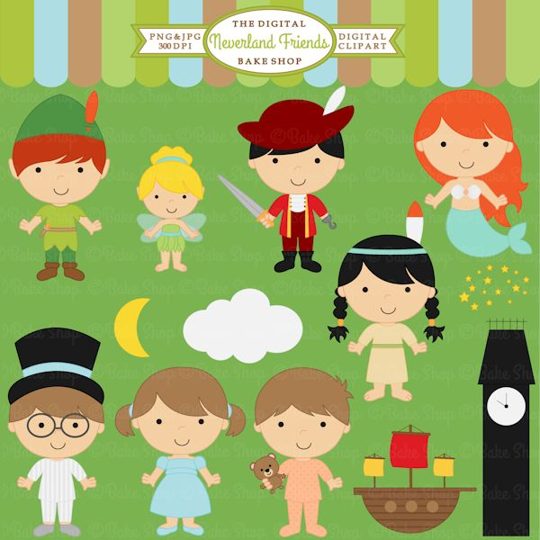 Neverland Friends Clipart - cute clipart for crafts, invitations, card making and more.