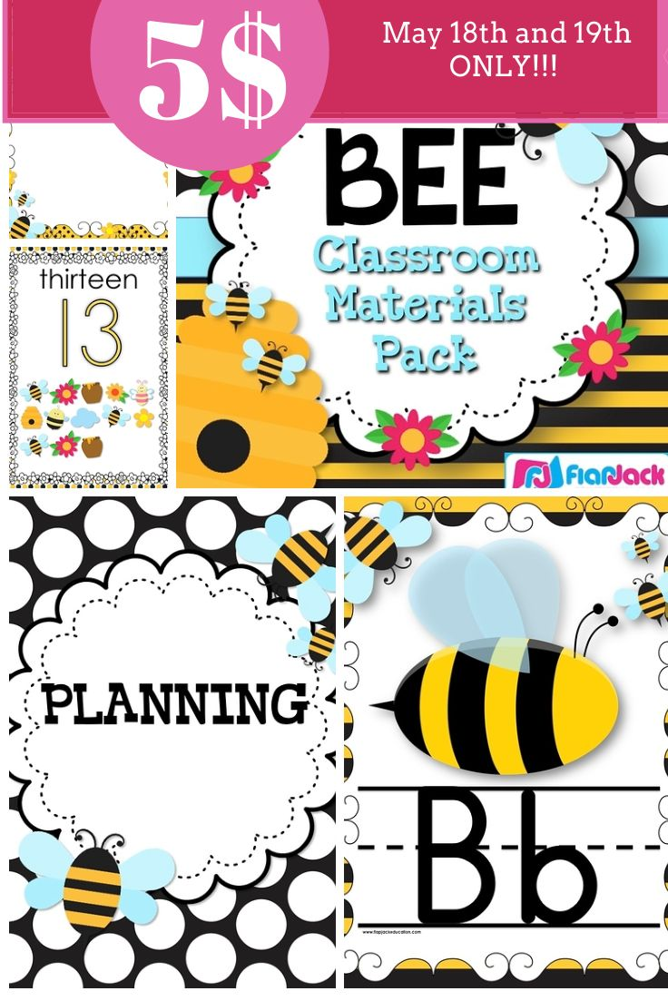 BEE Themed Classroom Decor Materials Pack Cursive AlphabetBee ThemeBusy