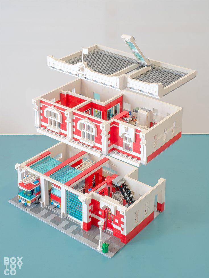 Custom Classic Architecture LEGOu00ae Fire Station with 3 Garage bays featuring LEGOu00ae Vehicles from Fire Station 60004 and Fire Truck 60002 For more details and images head to: www.boxtoy.co