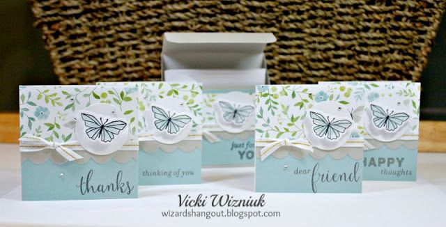 I love the new CTMH Chelsea Gardens! I used one of the papers to create this pretty little 3x3 note card set with matching card box. I also used the Chelsea Gardens Cardmaking Stamp and Thin Cut