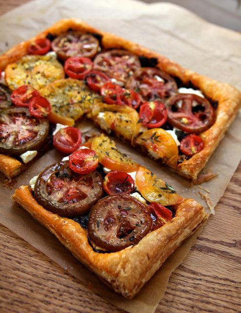 Heirloom tomato tart with goat cheese and thyme.