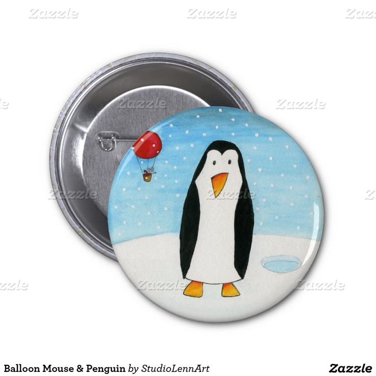Balloon Mouse & Penguin 2 Inch Round Button