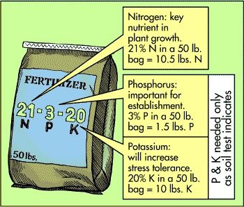 Understanding fertilizer numbers: The first number is the % of nitrogen (makes plant get good color and stimulates foliage growth).2nd number is the % of phosphorous (helps produce abundance of fruit/flowers),  3rd number is potassium (also in epson  salts and banana skins) which helps build strong root systems.  Garden fertilizer should be 14-14-14 while lawn fertilizer should be more like 26-5-5. Fast growing plants and lawns require larger amounts of nitrogen and shrubs/trees low amounts.
