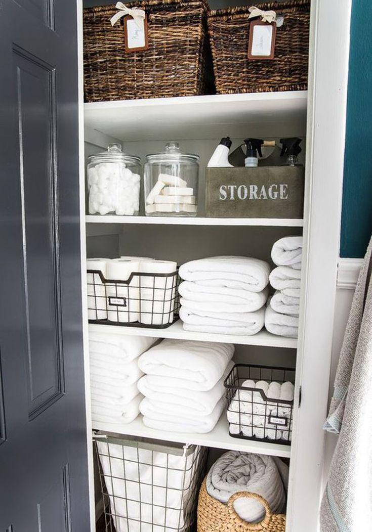 67 Meilleures Idees De Stockage Pour Les Petites Salles De Bains Organisation Creative Bon M Linen Closet Small Bathroom Storage Linen Closet Organization