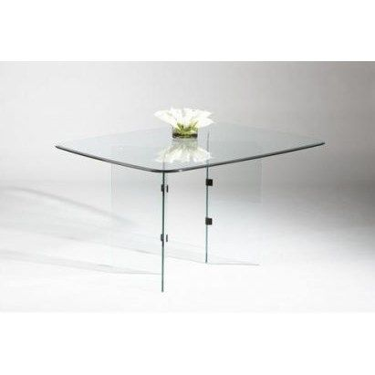 Chintaly Imports VBASE DT CHR V Base Glass Dining Table In Chrome