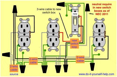 Diagram For A Switch Added To An Existing Wall Outlet In