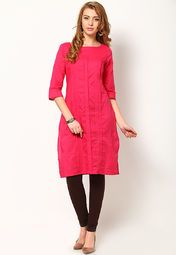 Make girls go green with envy when you wear this pink coloured kurta by W. Made from 100% cotton, this kurta is light in weight and perfect for daily wear. Team it with contrasting churidar and Kolhapuris to complete your look for the day.
