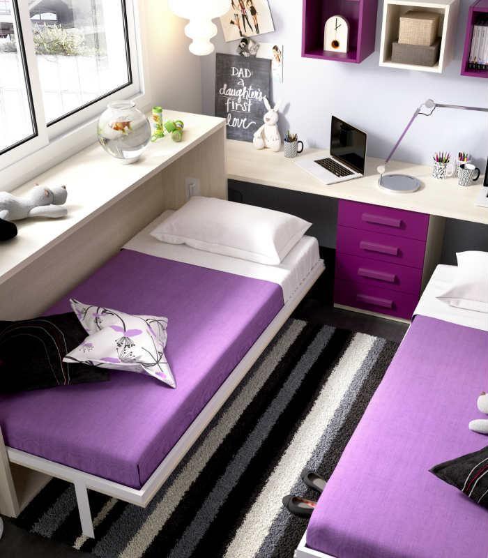Sácale partido a los espacios pequeños. Camas abatibles con seguridad homologada. http://www.aristamobiliario.es/camas-abatibles/771-cama-abatible-juvenil-mundo-joven-407-rimobel.html