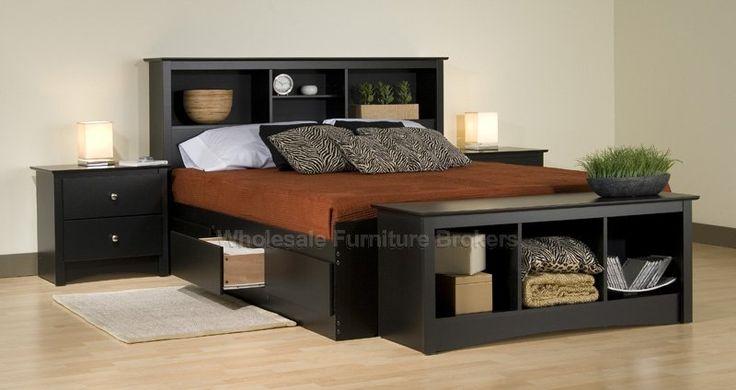 4 PC Sonoma Black Queen Platform Storage Bedroom Set at GoWFB.ca | Prepac