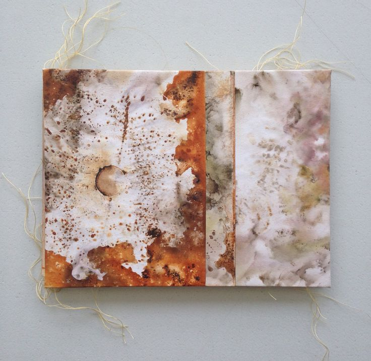 -eco printed on 110 gsm art paper using the natural colours found in leaves and found rusty iron-I used a steaming process to extract the colour prints-stitched and collaged by machine-covers wrapped around sturdy cardstock-original, one-of-a-kind handmade accordion booksize: 15 cm W x 11 cm H (closed)