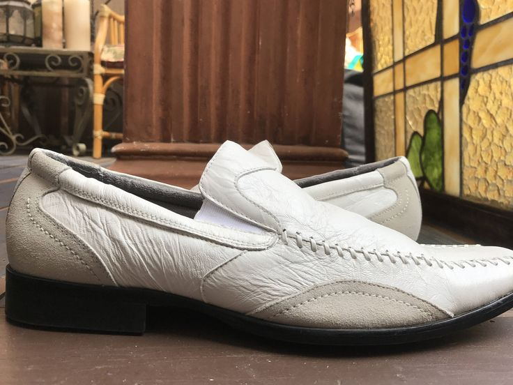 STACY ADAMS Men 13M White Lukas Loafer Whip stitches Genuine Leather/ Vintage 1980's Men's White Loafer by SantaBarbaraShop on Etsy