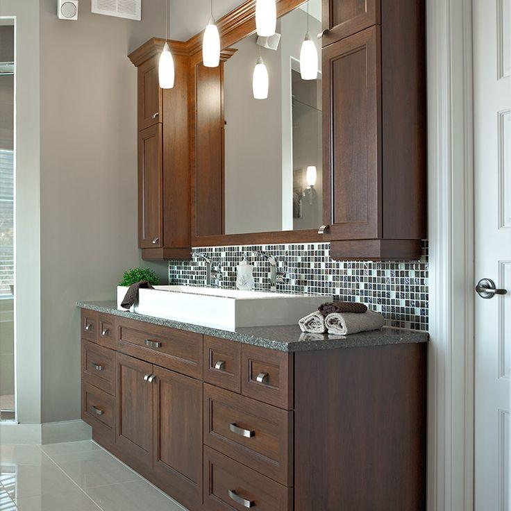 armoires de salle de bain en melamine polyester et comptoir en quartz