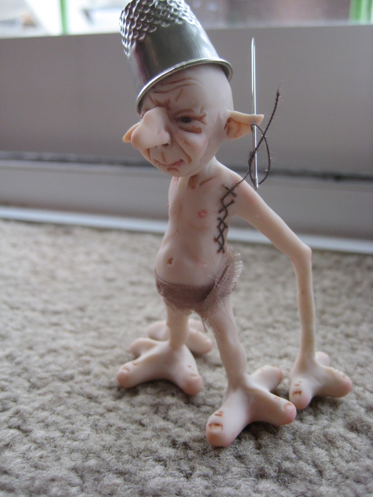 Thimble Grimble. Sculpted in polymer clay over a wire armature. GawainArt Originals, 2011.
