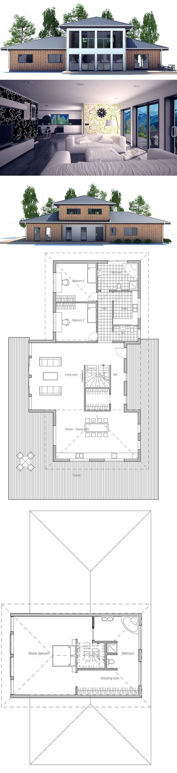 Large bathroom floor plans - Modern House Plan With Large Living Room And Spacious Kitchen Three Bedrooms Extra Large