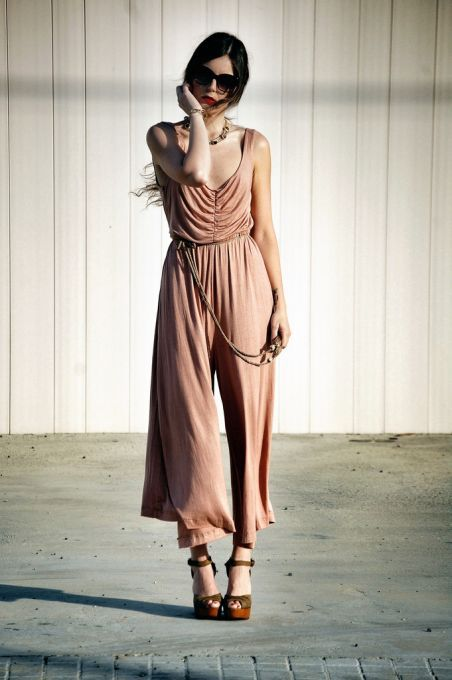 LOVE THIS!  Cotton Weave High Waist Jumpsuit Pant - Sheinside.com