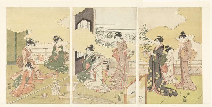 Hosoda Eishi | Vrouwen in een openlucht kamer, Hosoda Eishi, Nishimura Yohachi, 1793 - 1797 | Negen vrouwen, met verschillende bezigheden, in een tatami kamer; op de voorgrond een koto (Japans snaarinstrument) en een kamerscherm; op de achtergrond een veranda, gras en wolkpatronen.