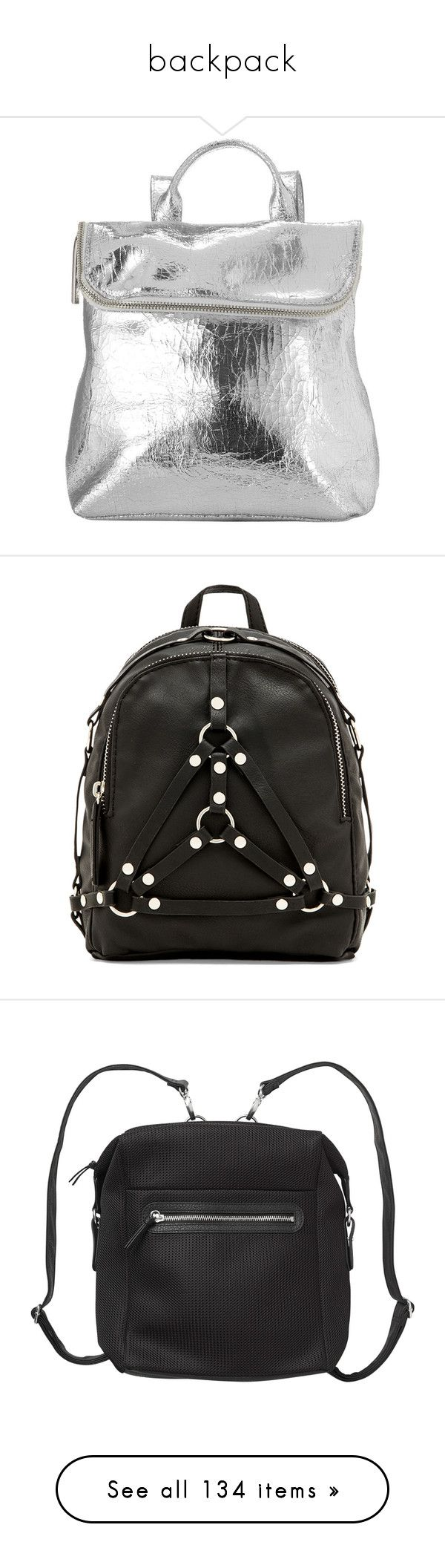 """backpack"" by brigi-bodoki ❤ liked on Polyvore featuring bags, backpacks, purses, silver, mini bag, leather daypack, whistles backpack, mini rucksack, backpack bags and accessories"