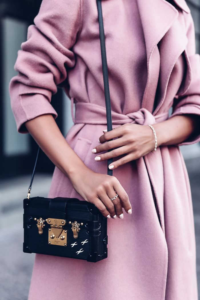 VivaLuxury - Fashion Blog by Annabelle Fleur: PRETTY PINK :: DAVID YURMAN STAX COLLECTION - DAVID YURMAN Stax chain link bracelet in 18K gold, ring & earrings available exclusively at NEIMAN MARCUS | THEORY Oaklane open front trench coat | AQUAZZURA Alix velvet pumps | OTTE NEW YORK Slip dress | MCM Printed logo sunglasses | LOUIS VUITTON Petite Malle bag  October 12, 2016