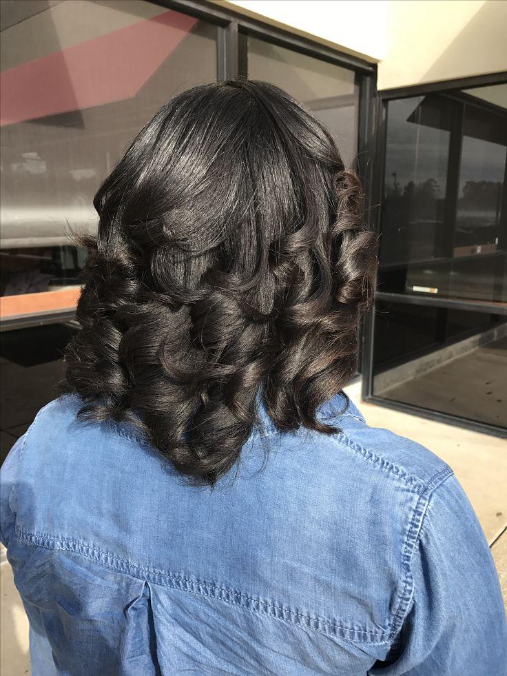 Curls on relaxed hair by stylist LaToya Jones (www.latoyajoneshair.com) using products from Silk Hydration by L. Jones (www.silkhydration.com) and flat iron from Toi by L. Jones (www.toibyljones.com)