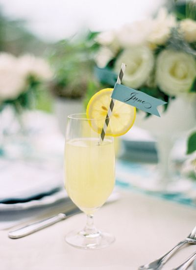 pretty lemonade place cards | Jose Villa #wedding