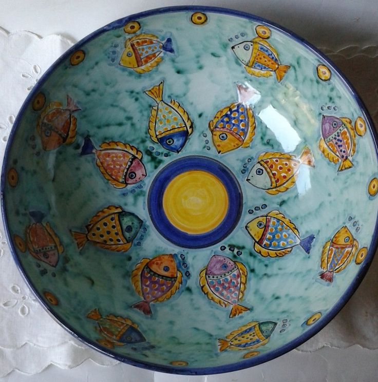 Ciotola / Spaghettiera / Insalatiera in ceramica dipinta a mano. Dec. Pesci, by ilciliegio, 25,00 € su misshobby.com
