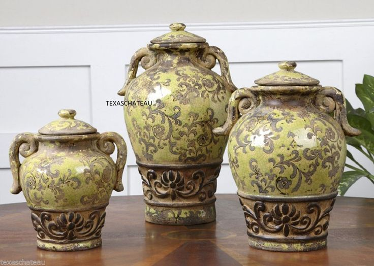 Set 3 Old World Tuscan French Country Canisters OLIVE JARS POTTERY Kitchen  New
