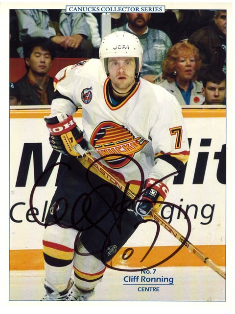 Cliff Ronning 8x10 signed copy Vancouver Canucks