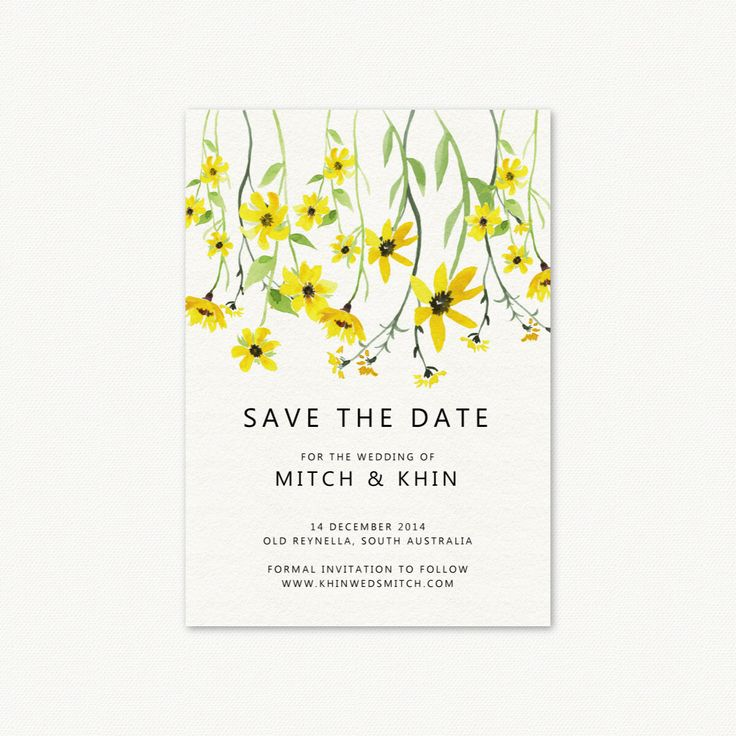 Yellow Wedding Invitation Save the Date Card. Invitation Printable Card. Yellow Flowers. by PaperBoundLove on Etsy https://www.etsy.com/listing/258049635/yellow-wedding-invitation-save-the-date
